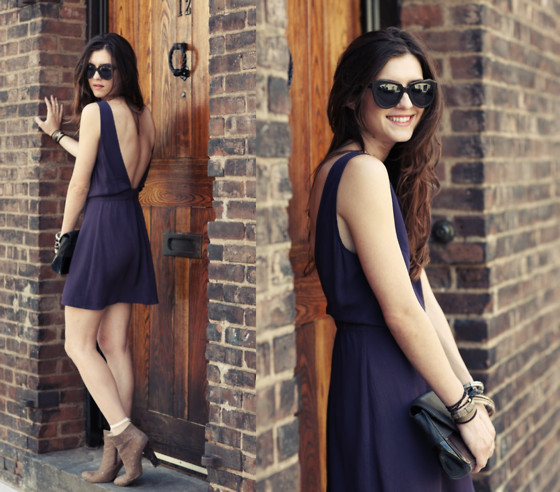 Laura Ellner - Karen Walker Sunglasses, Reformation Dress, Pour La Victoire Bag, Candella Booties - Backlash