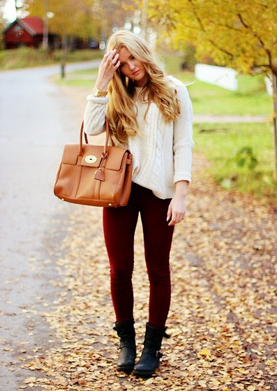 Karolin L - Romwe Knit, Hollister Jeans, Dinsko Boots, Mulberry Bag, Michael Kors Watch - Welcome october