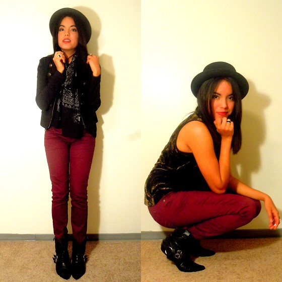Crystal R. - Forever 21 Rings, H&M Military Jacket, Forever 21 Bowler Hat, Thrifted Velvet Tank, Mexico Black Pointy Boots, Forever 21 Burgundy Jeans, Platos Closet Tribal Scarf - Little Talks
