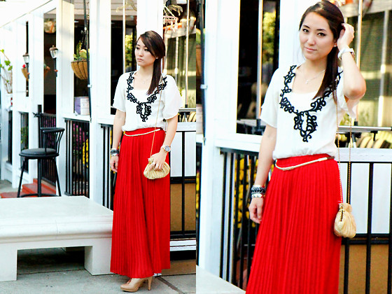 Maggie Chan - Urban Outfitters White Silk Embroidered Top, Forever 21 Red Pleated Skirt, Tahari Gold Scallop Bag - Ruby