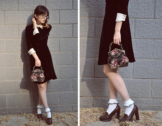 Anne King - Vintage Velvet Shirt Dress, Randa Shoes - Vintage Affair~episode 8~A girl could be like a nun
