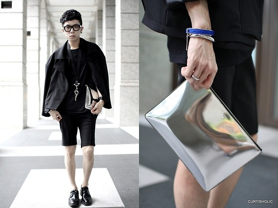 Curtis Yu - Calvin Klein Bracelet, Céline Silver Pouch Clutch, Givenchy Tee, Givenchy Necklace, Dress Code Jacket, Dress Code Shorts, Prada Shoes, Céline Bracelet - Outfit1209