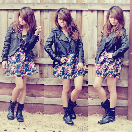 Faye Danielle - Leather Jacket, Floral Dress, Ross Studded Combat Boots - Go-to Look