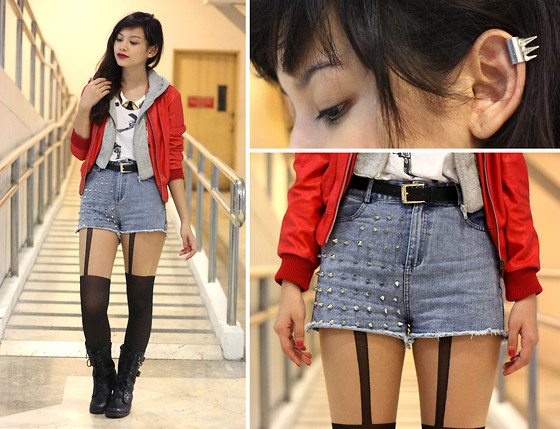Bea Benedicto - Trunk Show Spikey Shorts, Topshop T Strap Tights, Thrifted Layered Leather Jacket, Top Avenue Spike Ear Cuff - Kiss Kiss, Bang Bang