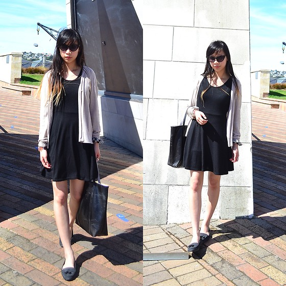 Faith Png - Oasap Cat Eye Sunglasses, Black Skater Dress, Thrifted Nude Cardigan, Rubi Shoes Black Loafers, Bucket Bag - Cat-Eye