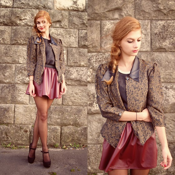Martyna C -  - Baroque jacket + leather burgundy skirt
