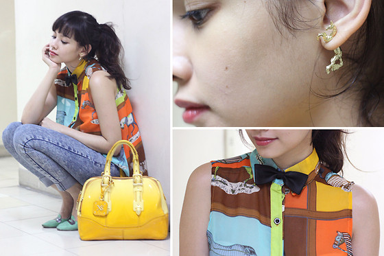 Bea Benedicto - Top Avenue Horse Earrings, Landmark Horse Top, Maxx Yellow Ombre Bag - Rocking Horse