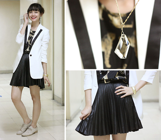 Bea Benedicto - Leather Pleated Skirt, White Blazer - Birthday Suit