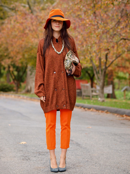 Veronica P - Zara Pants, Liz Claiborne Cardigan, Vintage Bag, Neclace - Orange lust