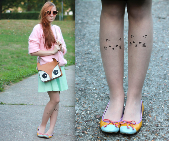 Slanelle L. - H&M Pink Angora Sweater, H&M Pastel Dress, Ebay Cute Fox Bag, Ebay Cute Cat Tights, Mood By Me Flats - Cat tights