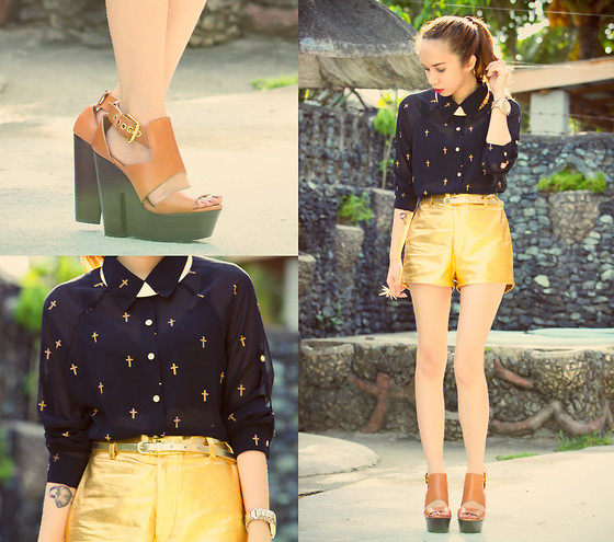 Wicked Ying NEW - Pinkaholic Cross Print Top, Oasap Collar Necklace, Topshop Lisbon Wedges - How Soon is Now?