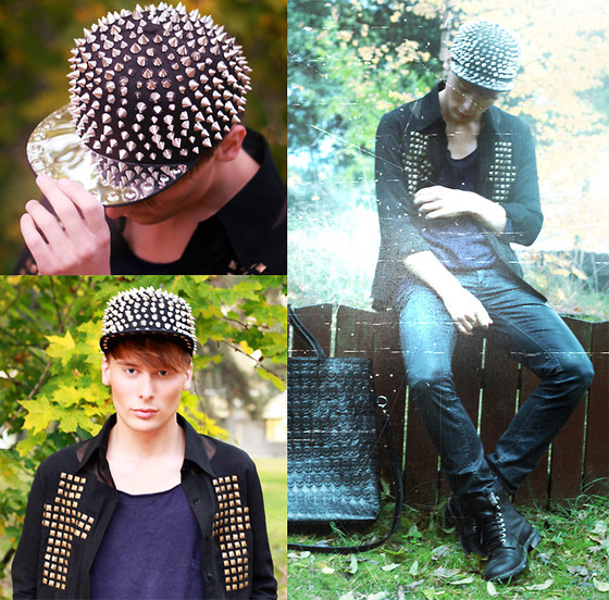 Dennis M. - Dmretro.Se Studded Cap, Dmretro.Se Cross Shirt, Acne Studios Jeans, Dmretro.Se Skull Bag, Vintage Boots, Weekday Sweater - I'm into you