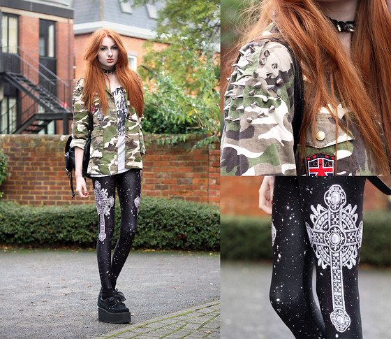 Olivia Emily - Spike Shoulder Camo Jacket, Faust Leggings, Backpack, Cramps Top, Underground Triple Creepers, Collar - Conversion Software Version 7.0