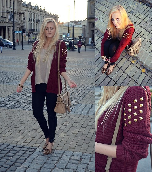 Estelle Fashion - Myred Sweater, Deezee Loafers, River Island Bag, River Island Leggins, Cubus Blouse - Burgundy sweater with studs & loafers