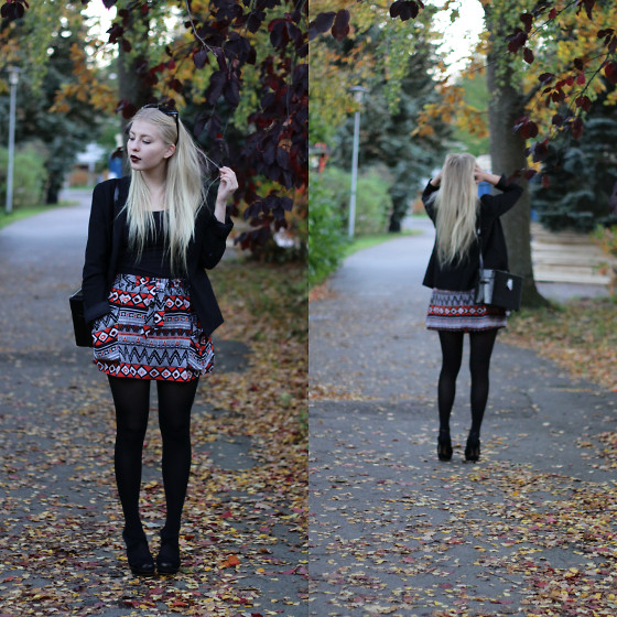 Joanna M - Gap Blazer, From Bulgaria Skirt, Mango Heels, Second Hand Camera Bag - AZTEC AUTUMN