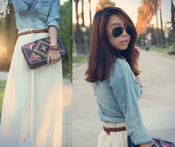 Joan K. - Ray Ban Sunglasses, H&M Shirt, Flying Tomato Clutch - Sunset maxi