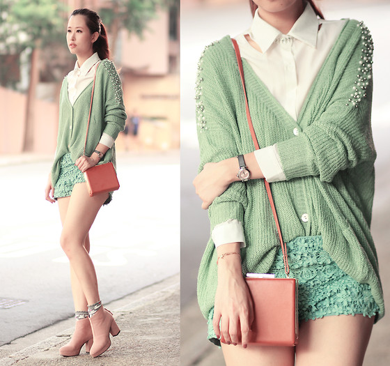 Mayo Wo - Romwe Cut Out Shirt, Choies Rivet Necklace, Ianywear Pistachio Cardi, Chic Wish Crochet Shorts, Sugarfree X Mayo Wo (Now Available!) Geanie Boots - Pistachio preppy