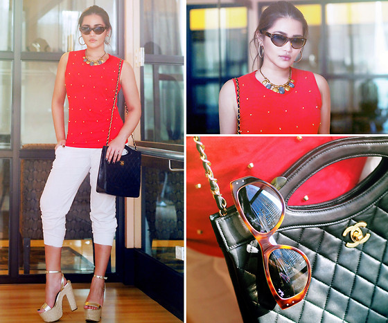 Raleene Cabrera - Ray Ban Cat Eye Sunnies, Chanel Convertible Bag, Hang Ten Necklace, Forever 21 Wedges, Terranova Sweatpants, Mango Studded Top - Lady luck