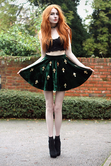 Olivia Emily - Topshop Lace Bralet, Embellished Velvet Skirt, Boots - Hand in hand is the only way to land