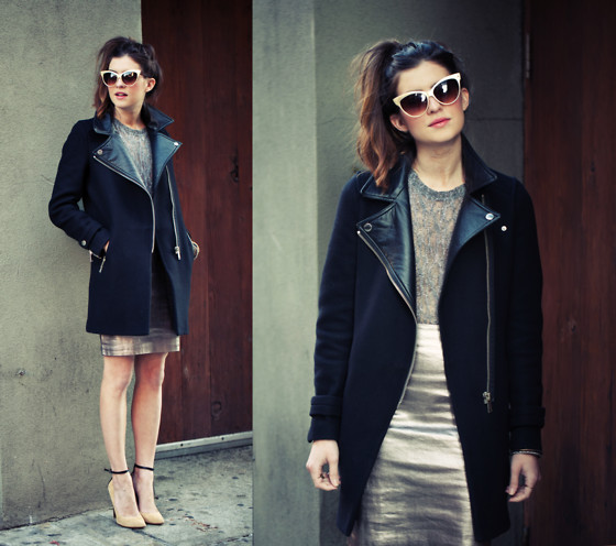 Laura Ellner - Zara Coat, All Saints Skirt, Topshop Top, Sigerson Morrison Shoes - Heavy Metal