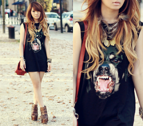 Anastasia Siantar - Givenchy Rottweiler Tank, Jeffrey Campbell Wrecker Boots, Aztec Pattern Doctor Bag - The summery autumn