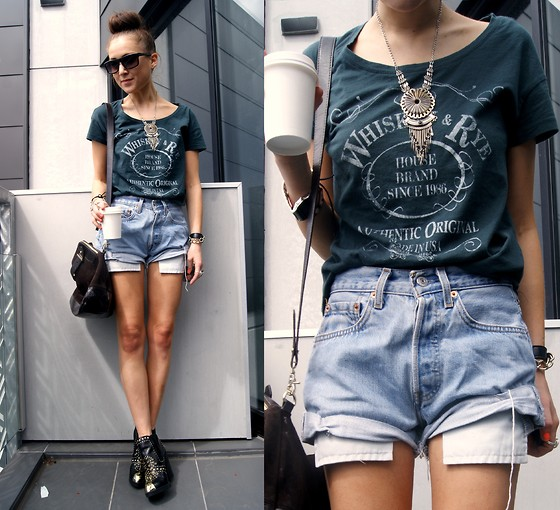 Nicola Kirkbride - Tee & Cake T Shirt, Levi's® Shorts, Zara Bag, Topshop Boots - Whisky and Rye