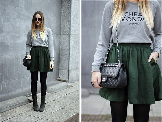 Linsey Sijmons - Prada Sunglasses, Cheap Monday Sweater, Chanel Bag, H&M Skirt, Sacha Shoes - YOU CAN BE MY FULLTIME BABY