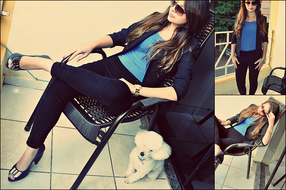 Emanoella Castro - Shirt, Shoes, Pants, Cherry Blazer, Watch, Armani Exchange Sunglasses - Black and blue !