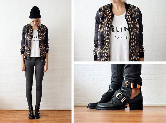 Sietske L - Romwe Dog Printed Jacket, Choies Boots, Solilor Tee, Topshop Grey Jeans - Dogs all over