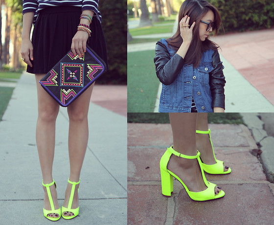 Joan K. - Flying Tomato Clutch, Zara Sandals, Urban Outfitters Jacket, L.L. Bean Top, Karen Walker Sunglasses - Neon everything