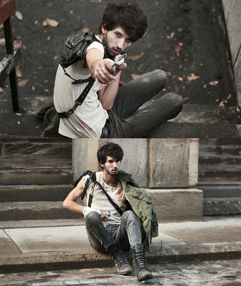 Bobby Raffin - Diy Bloody Tee, Thrifted Combat Boots, Thrifted Buckled Bag, Military Jackect - THE WALKING DEAD