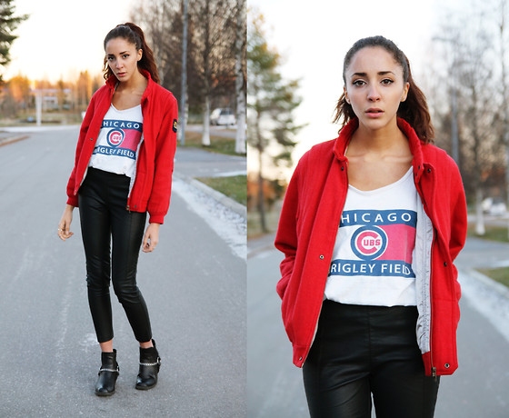 Malin E. - Secondhand Jacket, Bikbok Leather Pants, H&M Boots - Red Chicago.
