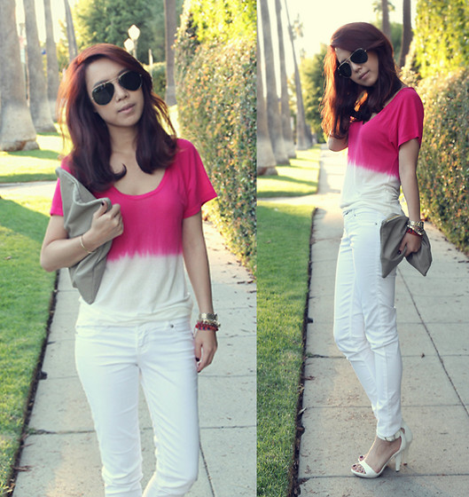 Joan K. - Zara Top, American Apparel Clutch, Ray Ban Sunglasses - Letting go of summer
