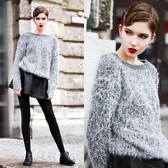 Olivia Emily - Cat Face Sweater, Embroidered Heart Skirt