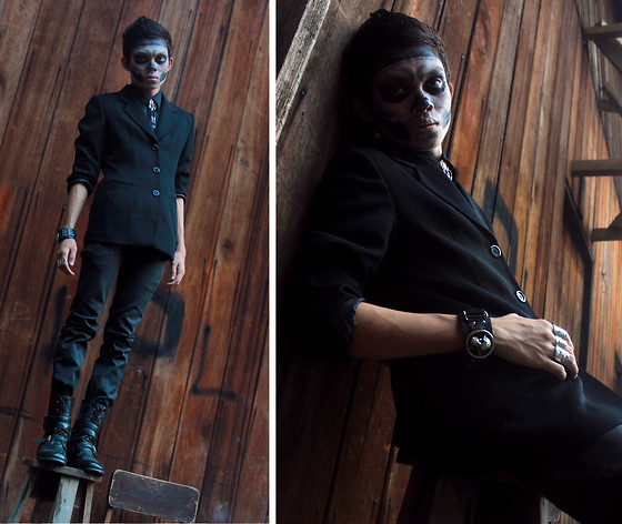Jomie Hospital - Thrifted Black Button Down, Diy Morbid Skull Tie, Thrifted Black Blazer, Thrifted Skull Wristband, Penshoppe Slim Fit Black Jeans, Thrifted Combat Boots - The Genest Infection