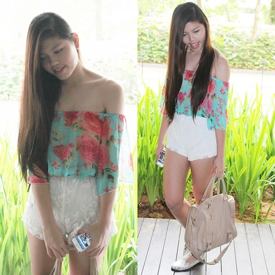 Fel Chen - Flora Off Shoulder, Bangkok Lace Highwaist Shorts, Bangkok Cream Bag, Lastbusride Snakeskin Maryjanes - Wonderland