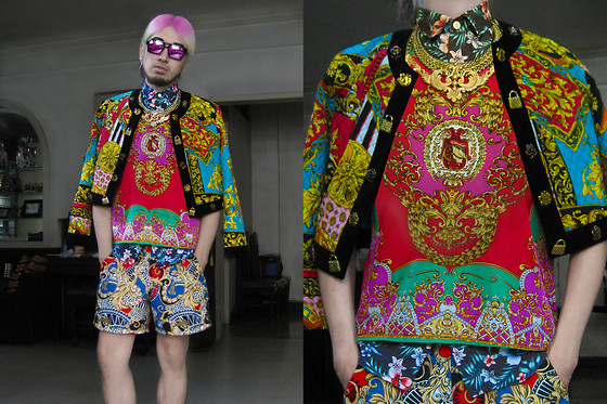Andre Judd - Topman Hawaiian Floral Print Shirt, Pink Manila Baroque Print Shell Top, Quilted Baroque Jacket, River Island Baroque And Leopard Print Shorts, Matte Gold Baroque Filigree Neckpiece, Laurel Wreath Neckpiece - BRIGHT YOUNG THINGS