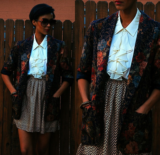 Luna Nova - Vintage Tapestry Floral Jacket, Vintage Ruffled Silk Blouse, Thrifted Herringbone Skirt - Poets of the Fall