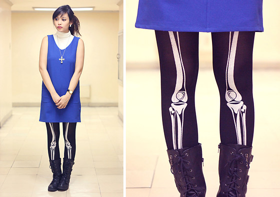 Bea Benedicto - Skeleton Leggings, Blue Twiggy Dress, White Turtleneck - Scared to Death