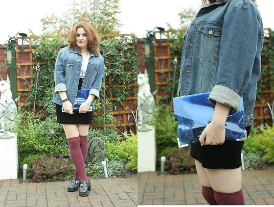 Jodie Marie Davey - Diy White Crop Top, Dorothy Perkins Velvet Skirt, Charity Shop Denim Jacket, Charity Shop Heels, Primark Burgundy Over The Knee Socks, Topman Skeleton Necklace, Ebay Transparent Bag - Trip to Ikea