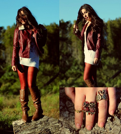 Natalie C - Forever 21 Oxblood Moto Jacket, Love Deep Red Tights, Nine West Brown Leather Boots, Mimi's Boutique Owl Ring - Oxblood Moto