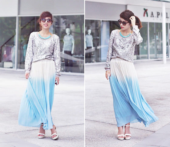Linda Tran N - H&M Sequin Sweater, Random Store In Ho Chi Minh City Ombre Skirt, Strap Sandals - Gone with the wind
