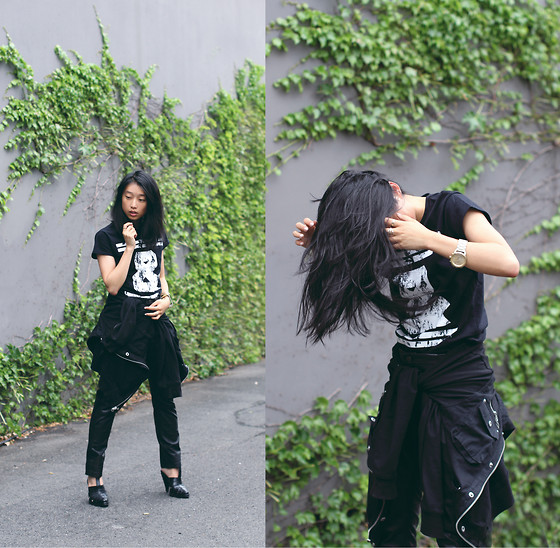 Margaret Zhang - Bec & Bridge Limited Edition Tee, Cargo Jacket, Sara Berman Leather Pants, Alexander Wang Heels - Ampersandian.