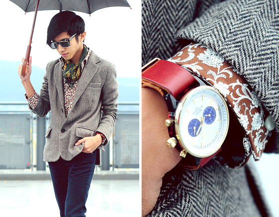 Mc kenneth Licon - Zara Silk Scarf, Paisley Shirt, Zara Tweed Blazer, Triwa Watch - Sick of the Rain