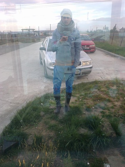 Adrian Vele - Zara Boots, Drop Crotched Jeans, Scarf Made By Me - Jacket, scarf, boots, beanie, drop-crotch jeans
