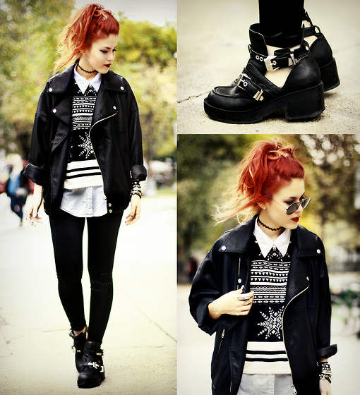 Lua P - Illustrated People Jumper, Jeffrey Campbell Coltranes, Vintage Blouse, Modekungen Jacket - Black Leather