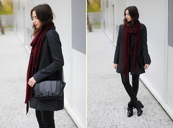 Patrycja R -  - GRAY COAT + BURGUNDY SCARF
