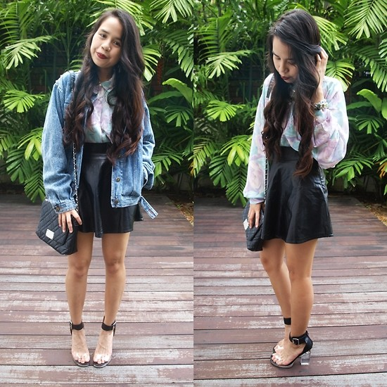 Leah S - Denim Jacket, Pastel Floral Blouse, Pleather Skirt, Mango Quilted Bag, Jeffrey Campbell Soirée - Soirée