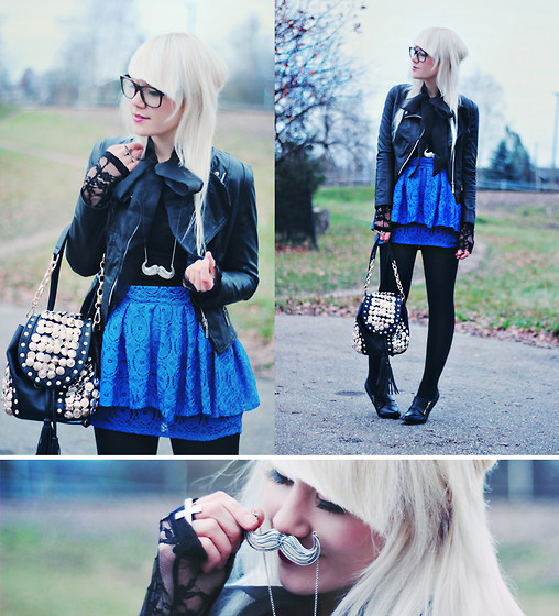Kerti P. - Moustache Necklace, Leather Jacket, Lace Blouse, Lace Skirt, Bag - Oh those silly boys in blue!