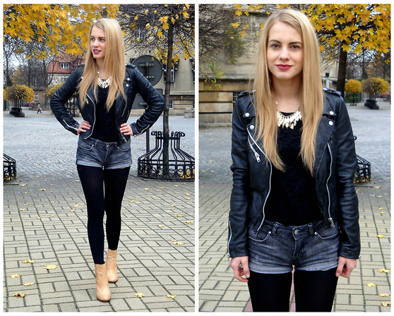Monica T. - Zara Leather Biker Jacket, H&M Shorts, Zara Boots - Independence Day